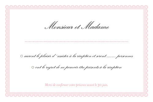 Carton réponse mariage Gourmand rose