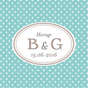 Etiquette de mariage classique motif chic (carré) turquoise