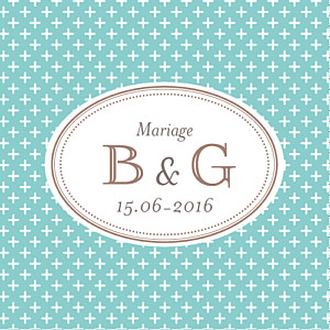 Etiquette de mariage Motif chic (carré) turquoise
