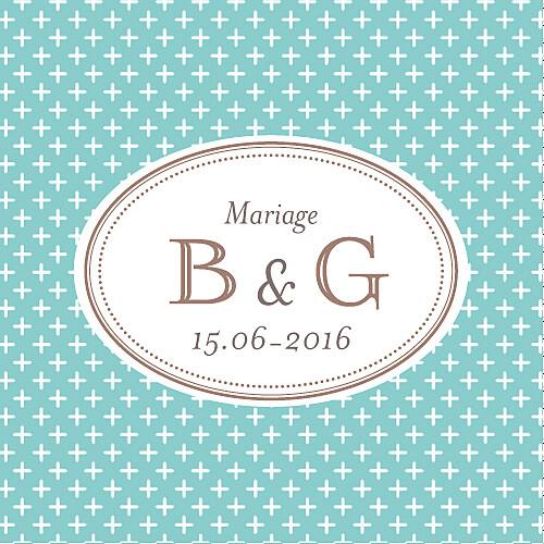 Etiquette perforée mariage Motif chic (carré) turquoise