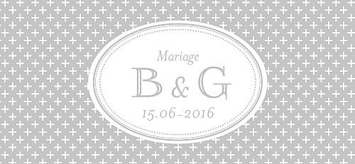 Etiquette de mariage Motif chic gris