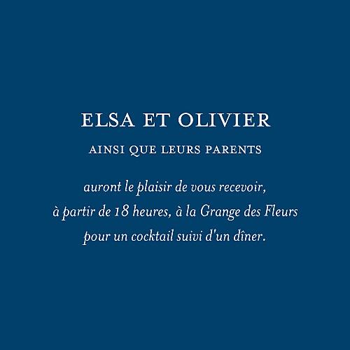Carton d'invitation mariage Chic (carré) bleu roi