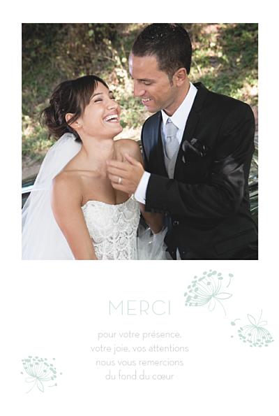 Carte de remerciement mariage Envolée vert d'eau finition