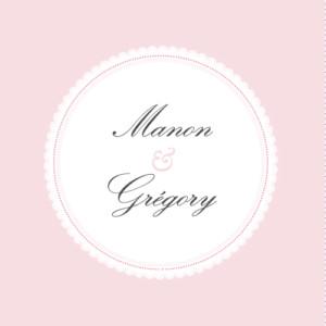 Etiquette de mariage Gourmand rose
