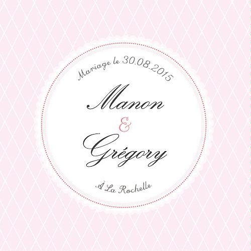 Etiquette de mariage Gourmand raffiné rose