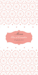 Menu de mariage Hollywood corail