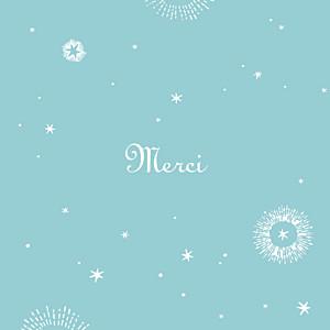Carte de remerciement Merci constellation photo turquoise