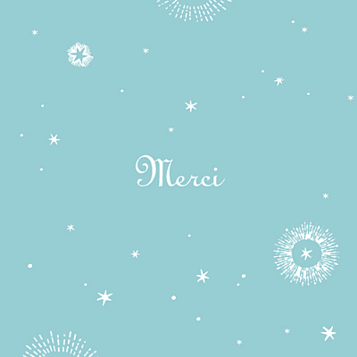 Carte de remerciement Merci constellation photo turquoise finition