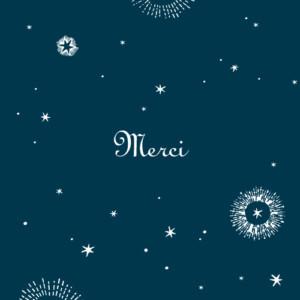Carte de remerciement Merci constellation bleu nuit
