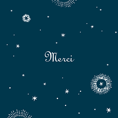 Carte de remerciement Merci constellation bleu nuit finition