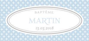 Etiquette perforée baptême Motif chic bleu dragee