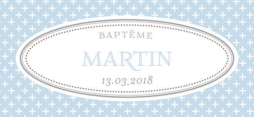 Etiquette de baptême Motif chic bleu dragee