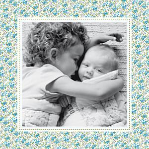 Faire-part de naissance bilingue bilingue liberty bleu