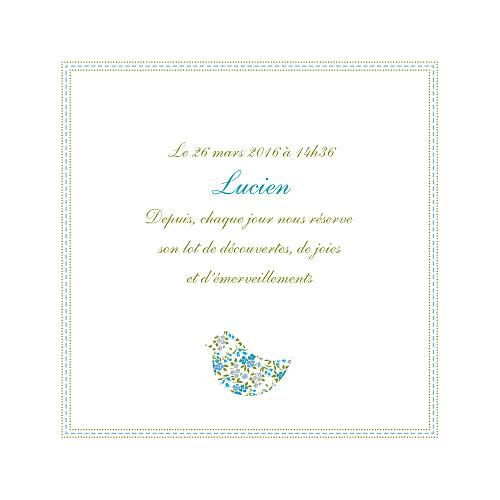 Faire-part de naissance Bilingue liberty bleu