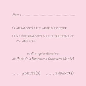 Carton réponse mariage rose chic (carré) rose pâle