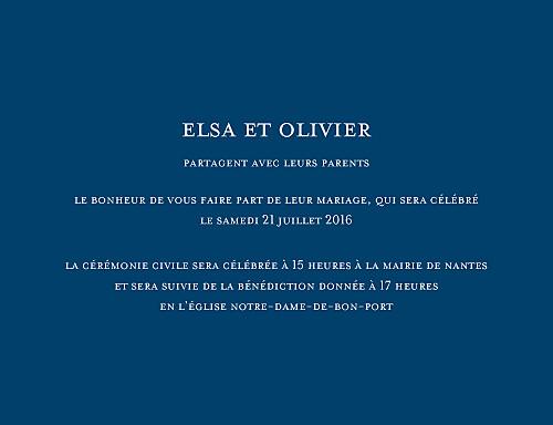 Faire-part de mariage Chic (grand format) bleu roi
