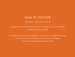 Faire-part de mariage Chic (grand format) orange