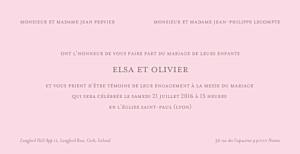 Faire-part de mariage rose chic panoramique rose pâle