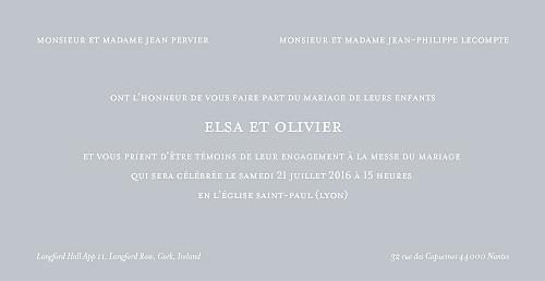 Faire-part de mariage Chic panoramique 4 pages gris