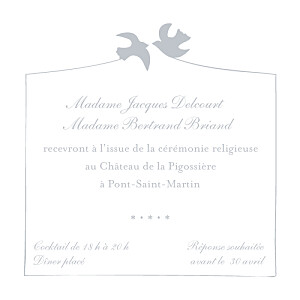 Carton d'invitation mariage Colombe gris
