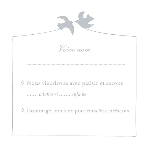 Carton réponse mariage Colombe gris