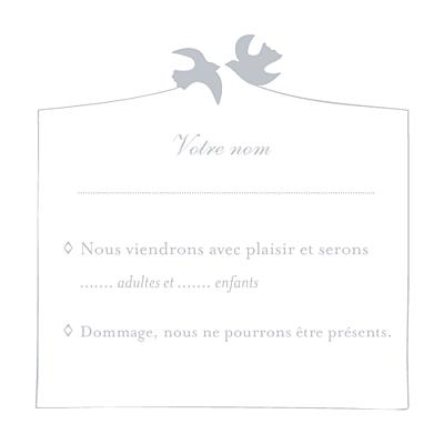 Carton réponse mariage Colombe gris finition