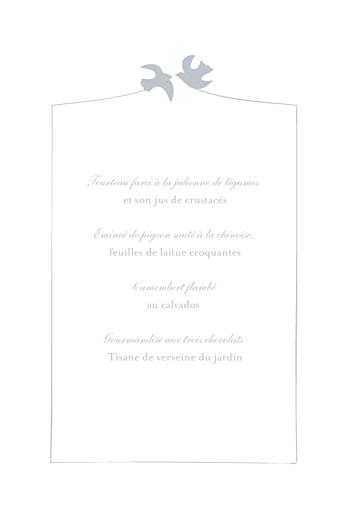 Menu de mariage Colombe gris