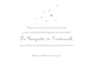 Carton d'invitation mariage Étoile gris bleu