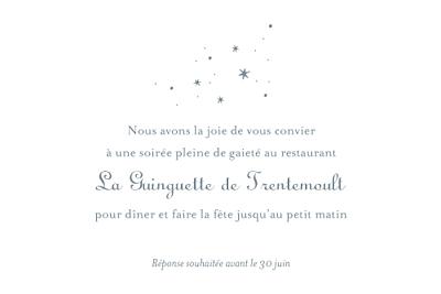 Carton d'invitation mariage Étoile gris bleu finition