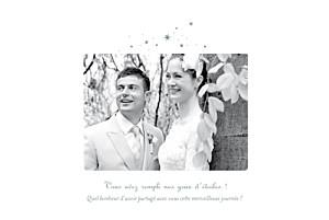 Carte de remerciement mariage Étoile 3 photos gris bleu