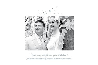 Carte de remerciement mariage Étoile 3 photos gris bleu finition