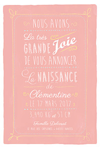 Faire-part de naissance Happy day corail