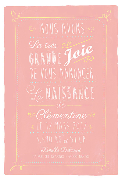 Faire-part de naissance Happy day corail finition