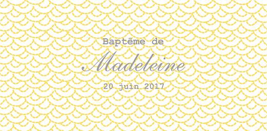 Marque-place Baptême Pistil écusson jaune