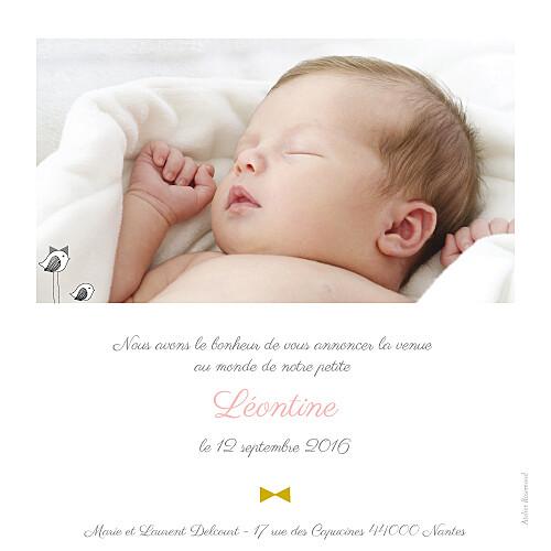 Faire-part de naissance Là-haut photo rv rose