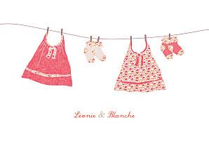 Faire-part de naissance fille fil à linge jumelles fraise