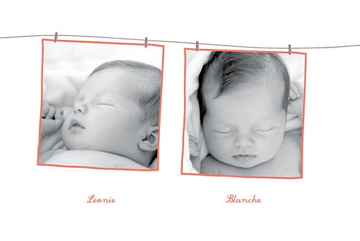 Faire-part de naissance Fil à linge jumelles fraise