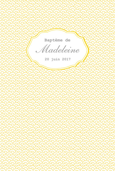 Menu de baptême Pistil écusson (4 pages) jaune finition