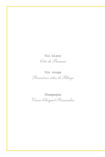 Menu de baptême Pistil écusson (4 pages) jaune