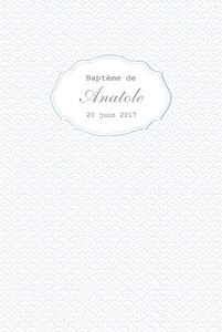 Menu de baptême Pistil écusson (4 pages) bleu ciel