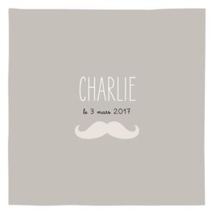 Faire-part de naissance Moustache 3 photos taupe