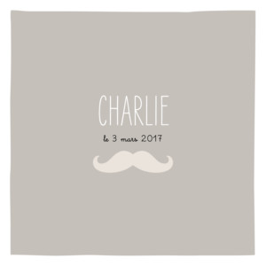 Faire-part de naissance Moustache 3 photos taupe