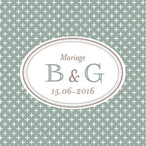 Etiquette de mariage Motif chic (carré) vert de gris