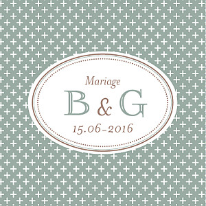 Etiquette de mariage gris motif chic (carré) vert de gris