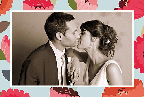 Carte de remerciement mariage Jardin bohème bleu