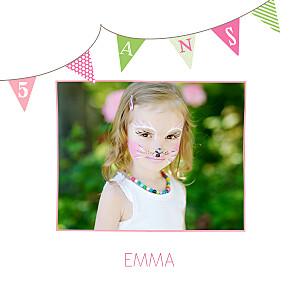 Carte d'anniversaire jumeaux fanions photo rose anis