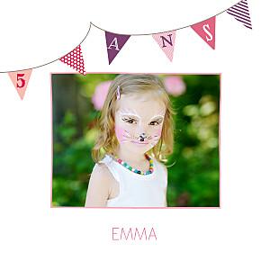Carte d'anniversaire rose fanions photo rose violet