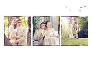 Carte de remerciement mariage champêtre promesse champêtre (3 photos) blanc