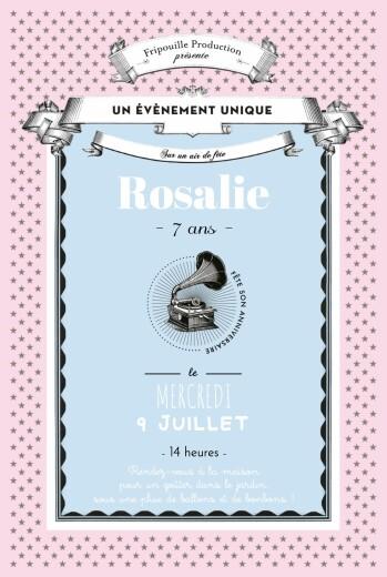 Carte d'anniversaire Festival rose bleu