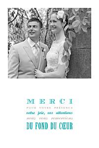 Carte de remerciement mariage Le plus beau jour céladon